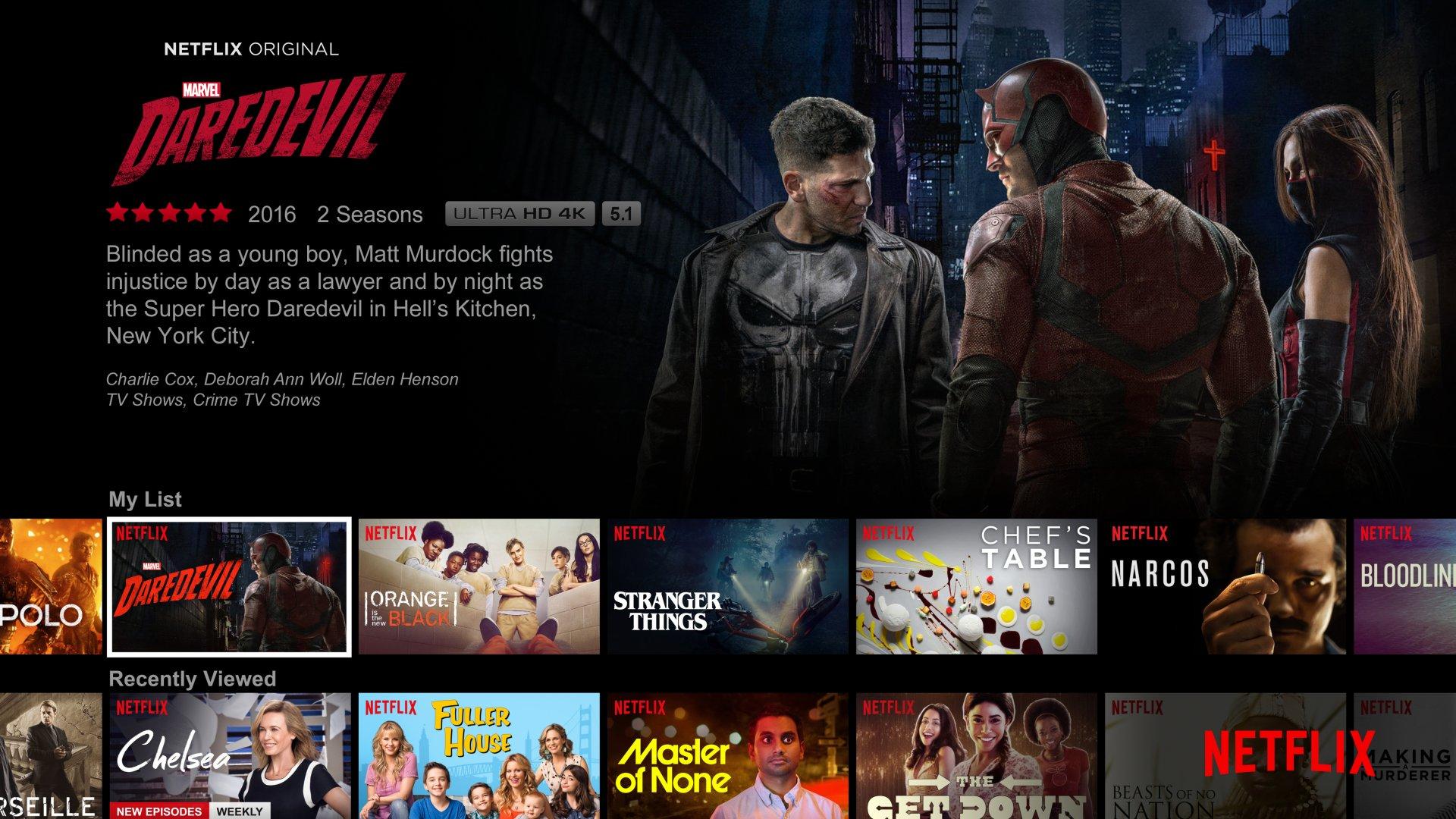 A Netflix menu screen featuring Marvel's Daredevil.