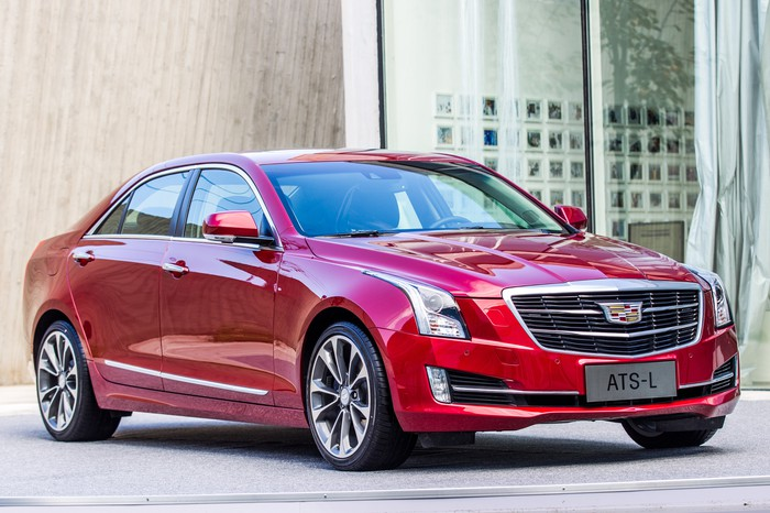 A red Cadillac ATS-L sedan.
