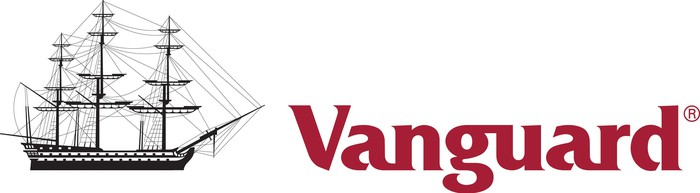 "Vanguard logo -- a black sailing ship and the name ""Vanguard"" in dark red."