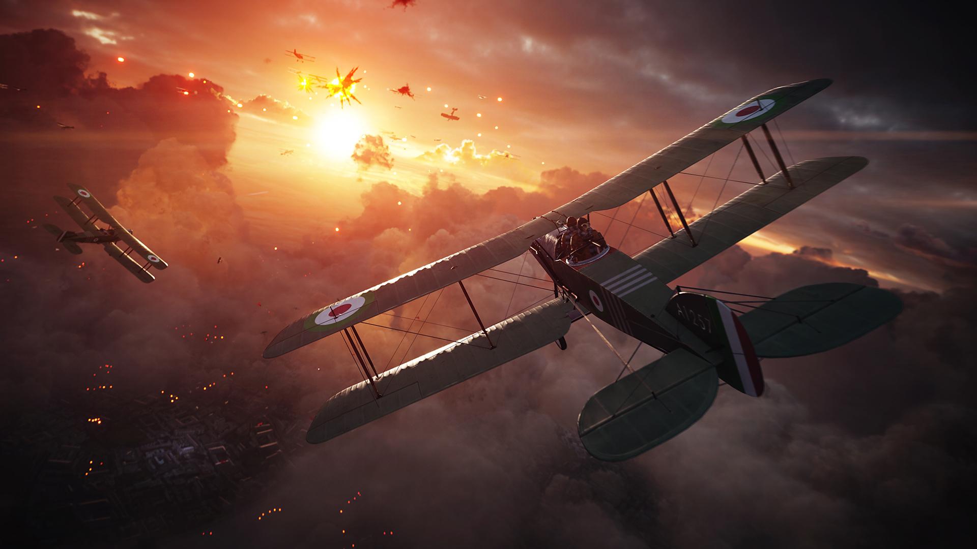 """World War I era planes fighting in the sky in EA' """"Battlefield 1""""."""
