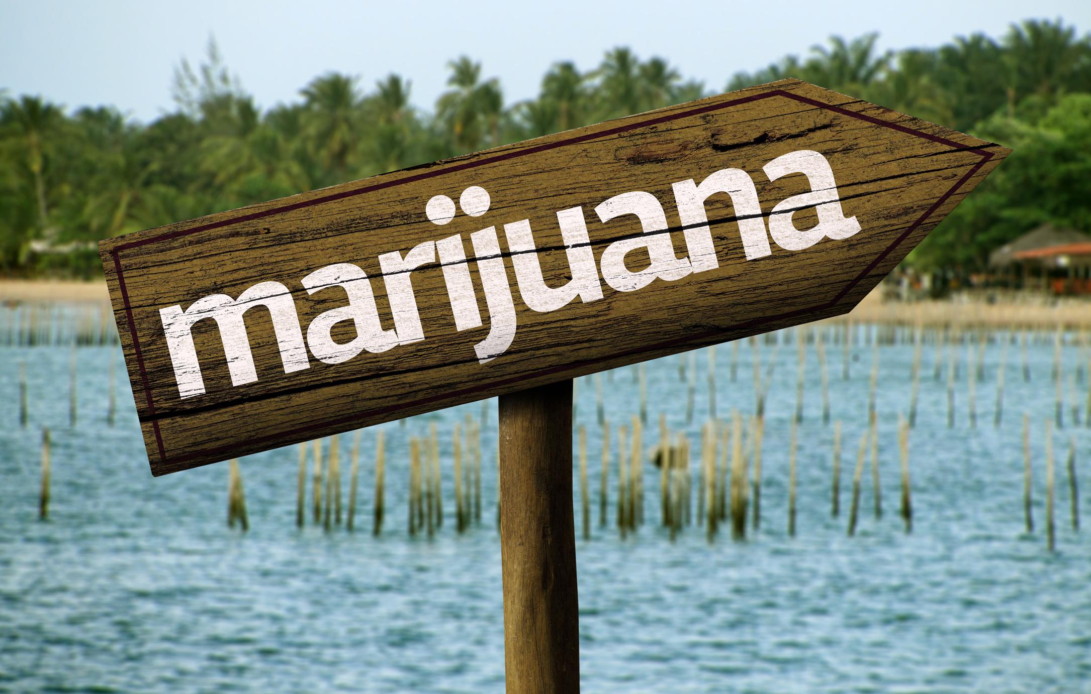 Wooden marijuana sign in front of water