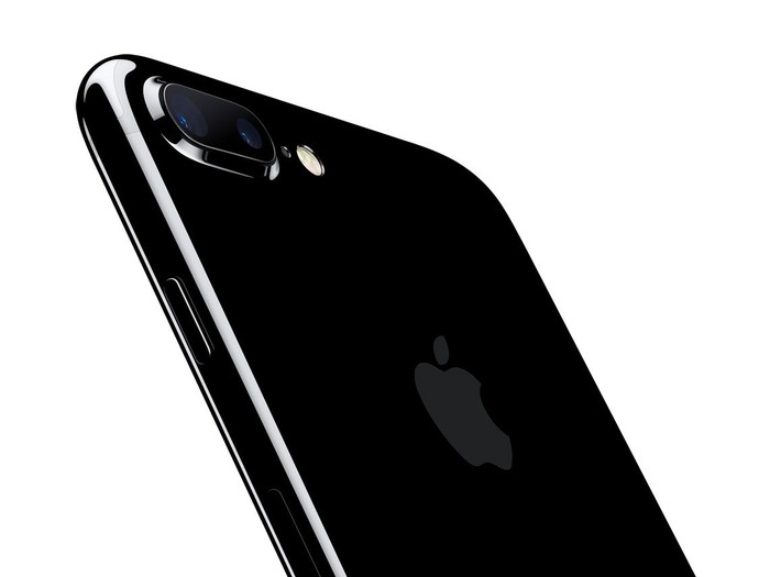 A jet-black colored iPhone 7.
