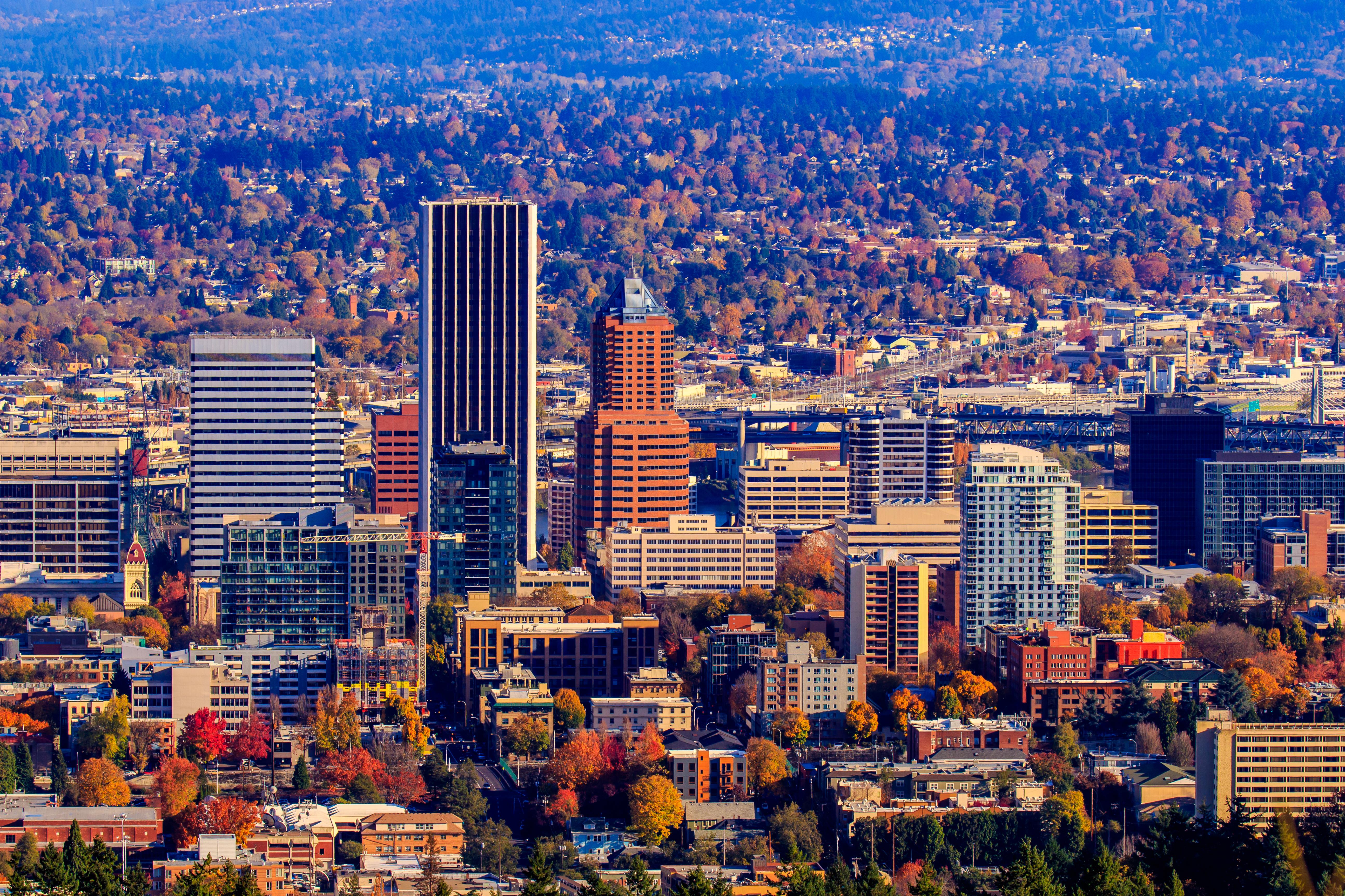 The Wells Fargo Center looms over downtown Portland, Oregon.