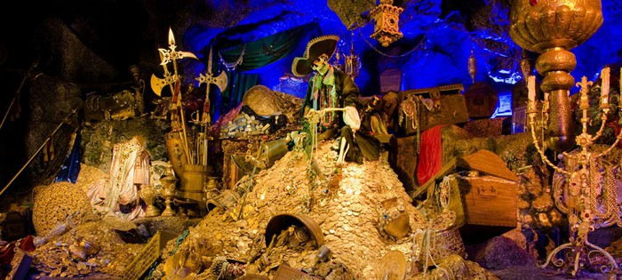 Part of Disney's Pirates of the Caribbean ride showing a mountain of treasure.