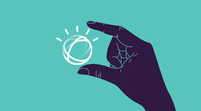A cartoon hand holding the IBM Watson logo between its index finger and thumb.