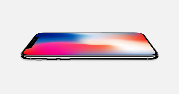 The iPhone X on a flat surface.