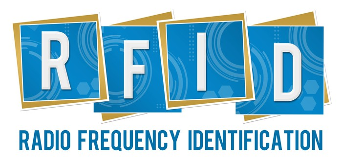 """RFID spelled out in large white letters on a blue and gold background of stylized RFID chips, above a line of blue text spelling out """"Radio Frequency Identification."""""""