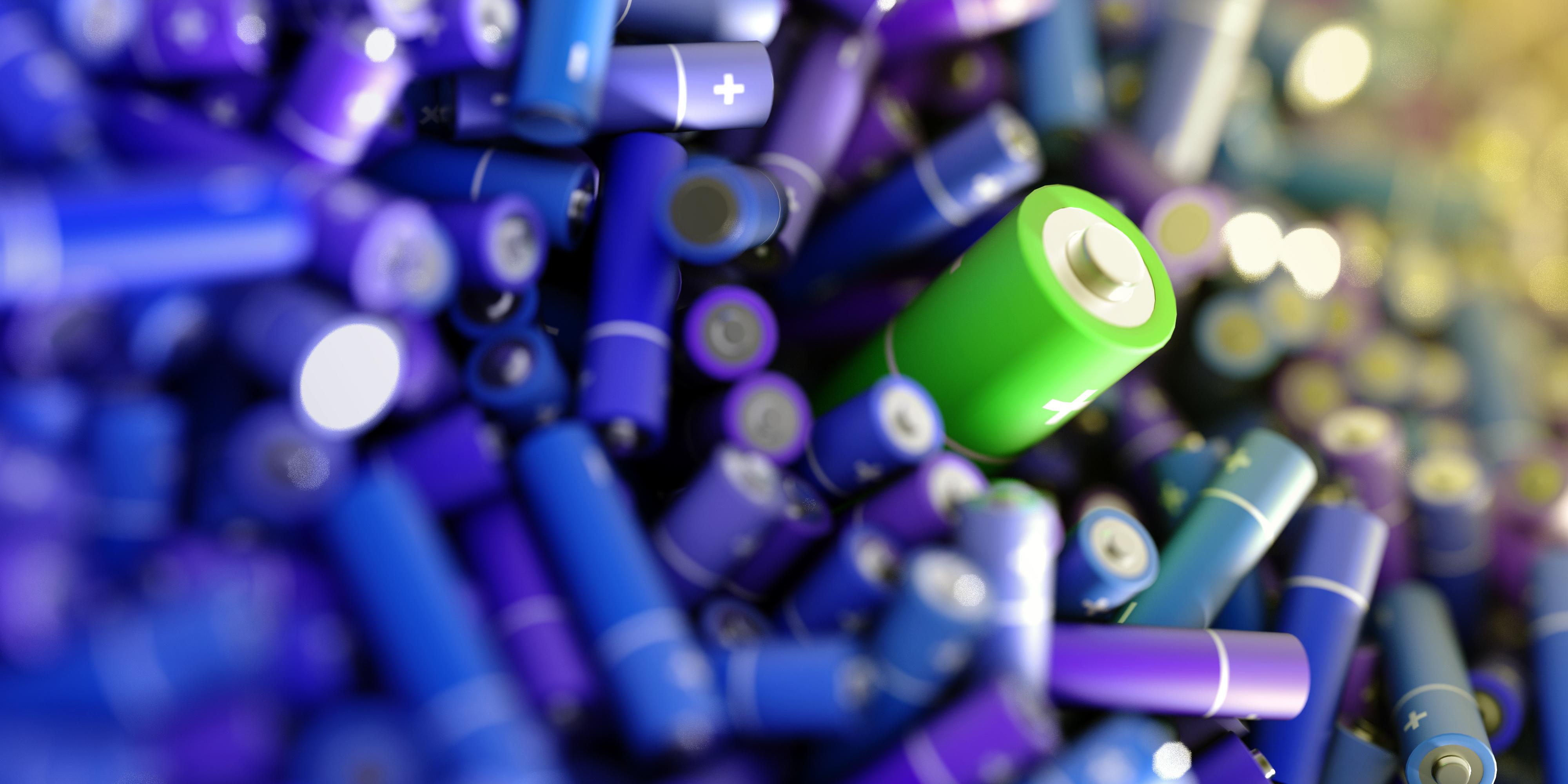 A pile of alkaline batteries