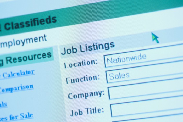 Online job listings search screen