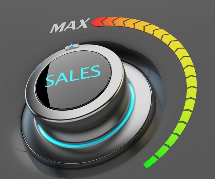 "A dial labeled ""Sales"" turned to the max"