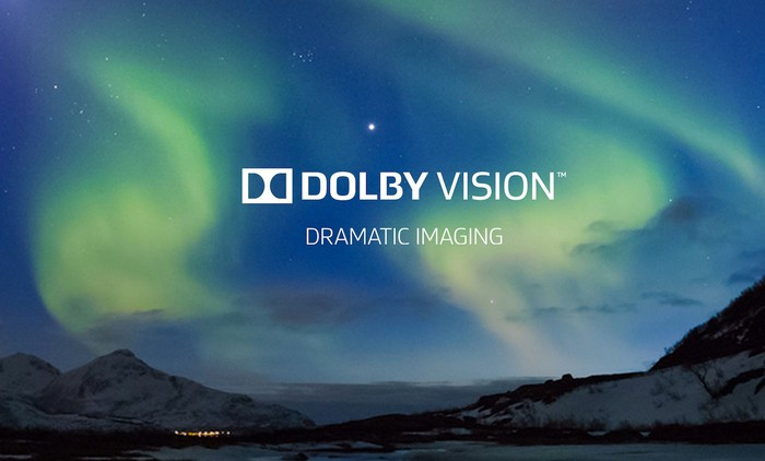 """Dolby Vision logo over a photo of the Northern Lights, subtext """"Dramatic Imaging"""""""