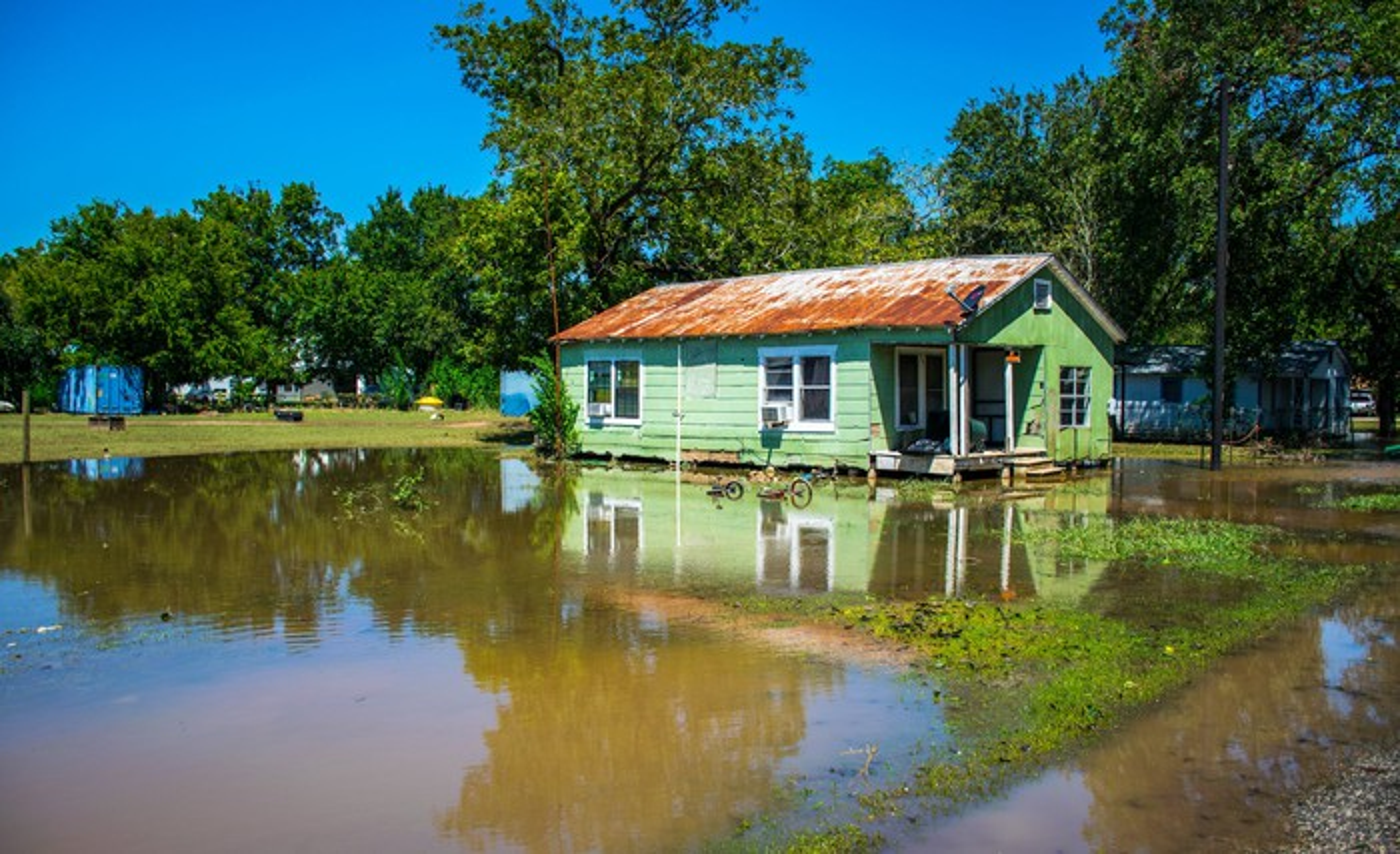 A hurricane-flooded home in Texas.