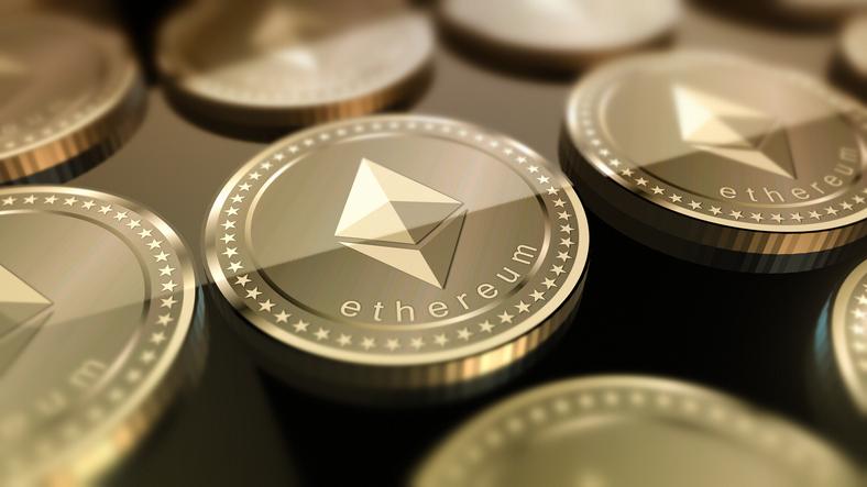 Shiny Ethereum coins.