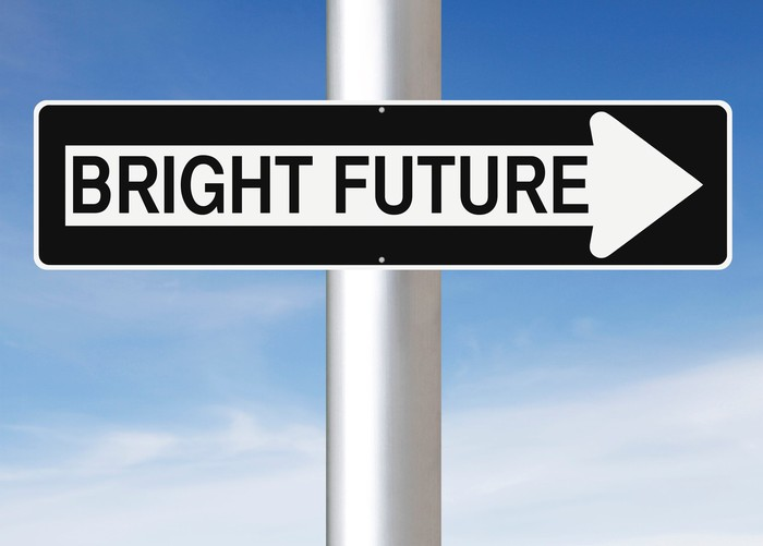 "A sign in the style of a one-way marker hangs on a pole and reads ""bright future."""