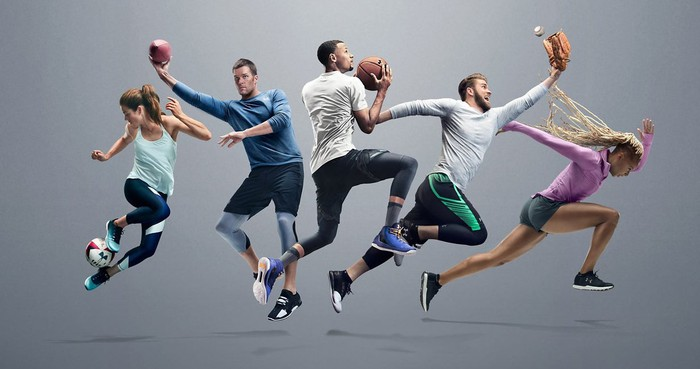 Five star Under Armour athletes -- Kelley O'Hara, Tom Brady, Stephen Curry, Bryce Harper, and Natasha Hastings -- all in action poses and wearing Under Armour Threadborne clothing against a grey background.