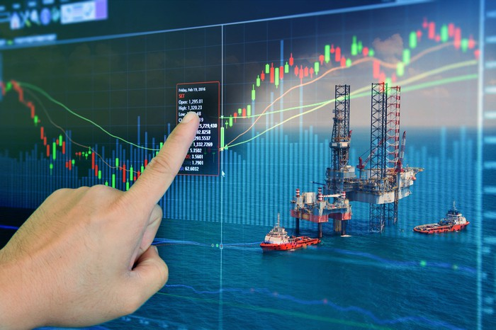 A hand pointing at a stock screen with an oil drilling rig in the background.