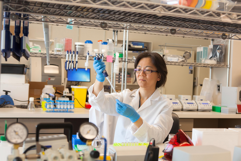 Halozyme scientist working in a lab