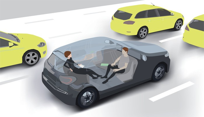 A drawing of a driverless car containing two people as it goes down the road with other vehicles.