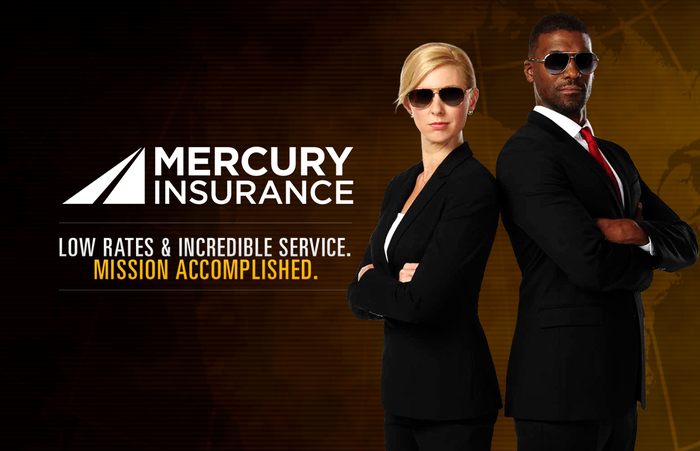 Two people in black suits with sunglasses and stern looks, with Mercury Insurance logo.