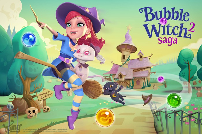"King's ""Bubble Witch"" game art depicting a cartoonish witch character riding a broom in a colorful cartoon landscape."