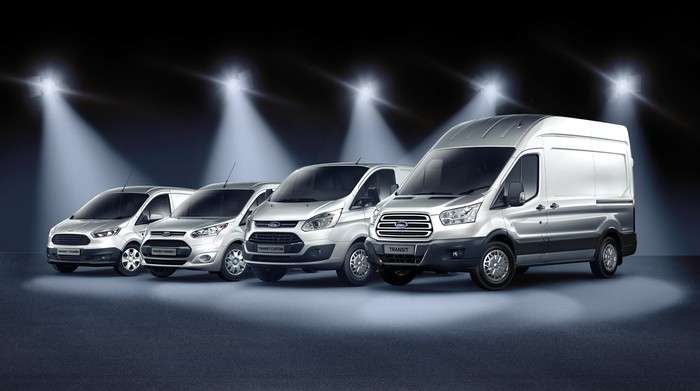 Ford's four Transit van models, parked side to side. From small to large: Transit Connect, Transit Courier, Transit Custom, and Transit.