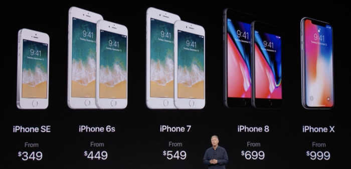 Marketing chief Phil Schiller on stage in front of the new iPhone lineup