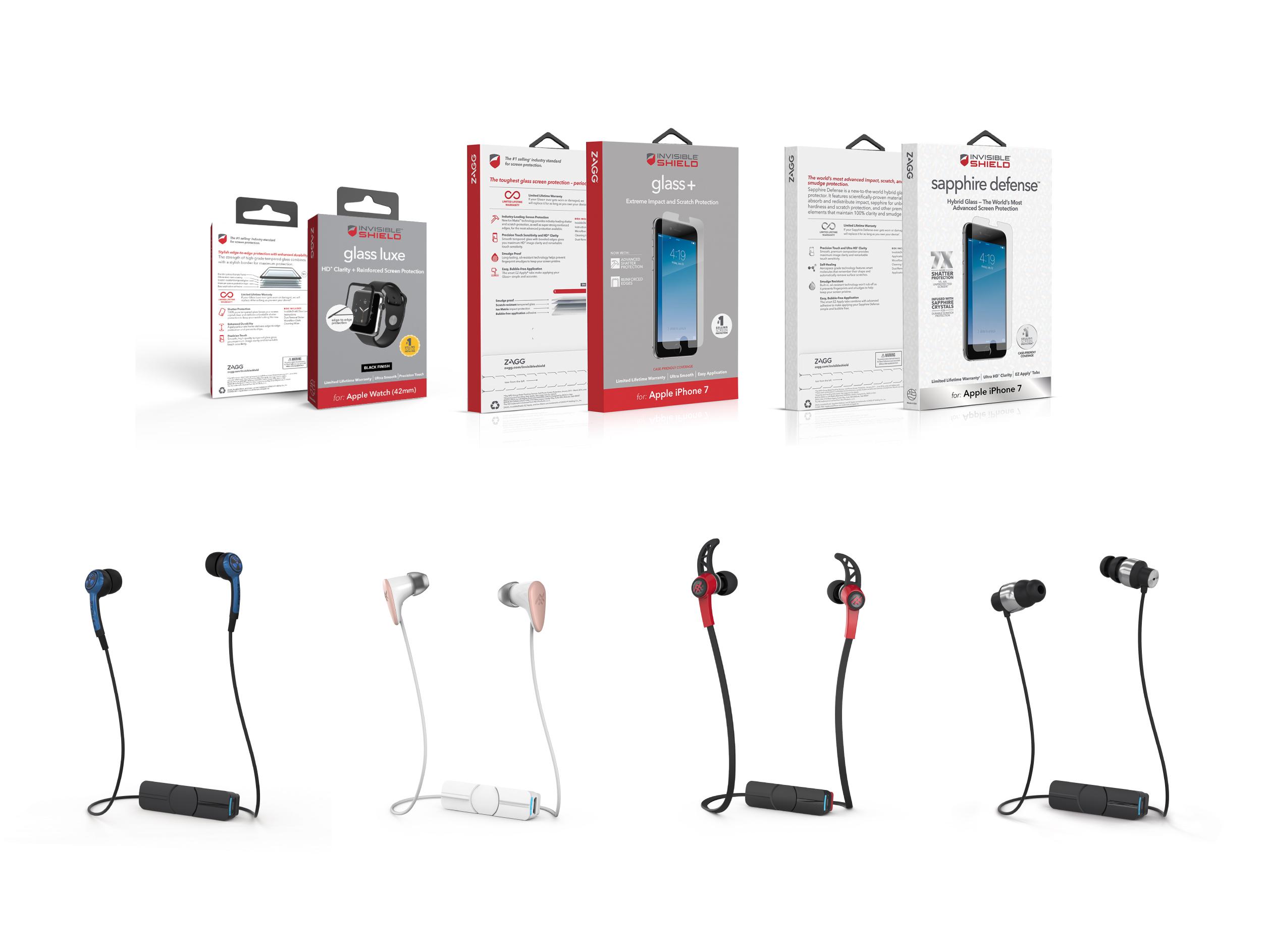 ZAGG screen protectors and iFrogz wireless headphones.