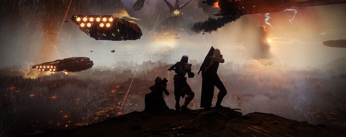 """Three characters in """"Destiny 2"""" overlooking a landscape with spaceships flying in the background."""