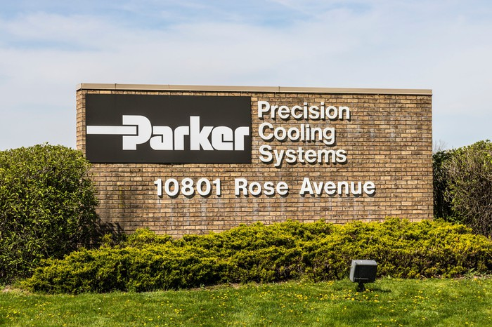 a sign to a Parker cooling systems factory