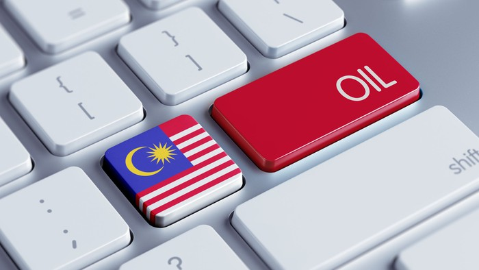 A keyboard with a Malaysian flag key next to an oil key.