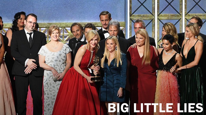 "The cast, writers, directors, and producers of ""Big Little Lies"" accepting an Emmy award."