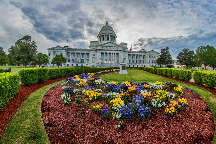 The Arkansas State Capital Building in downtown Little Rock, Arkansas.