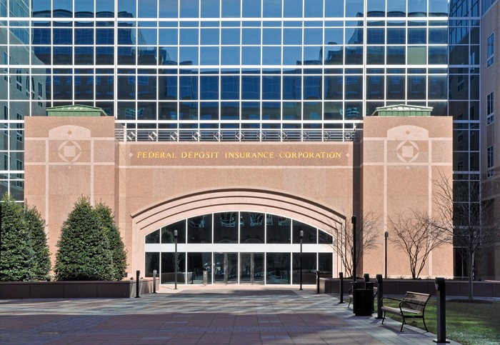 An entrance to the FDIC headquarters.