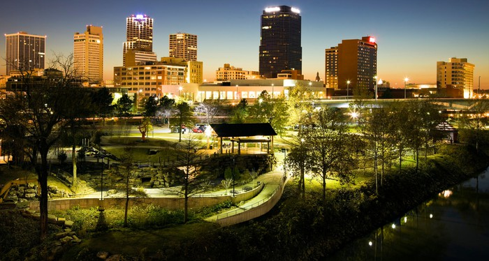 Downtown Little Rock, Arkansas at night.