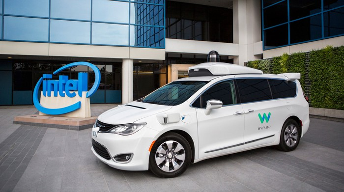 Image of minivan sitting in front of Intel's offices.
