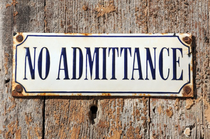 """No admittance"" sign"