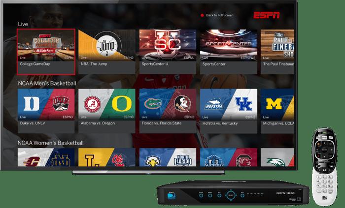ESPN landing page on DirecTV.