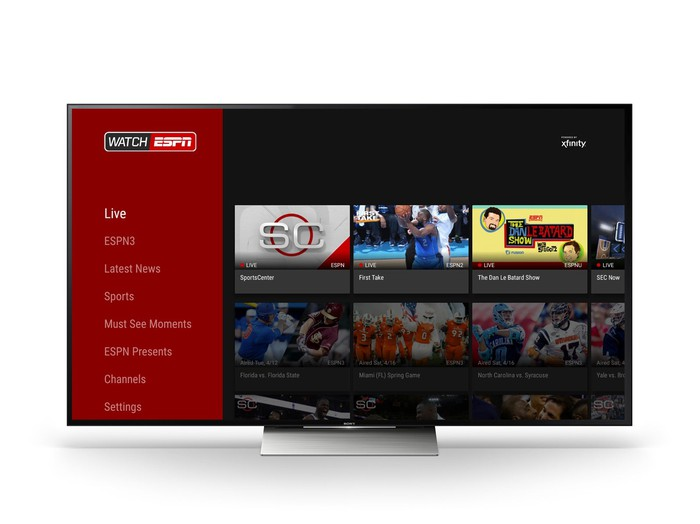 Watch ESPN landing page on Android TV.