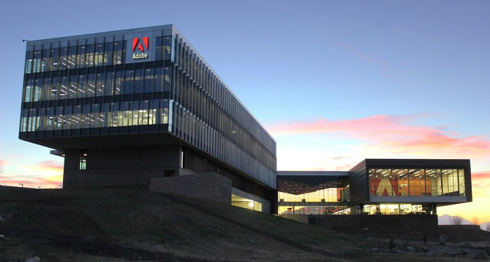 Adobe office in Utah with a beautiful sunset in the background.