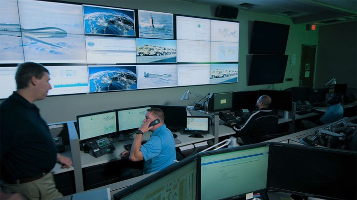 Personnel manning a command center