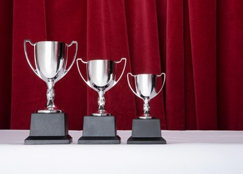 3 silver trophies