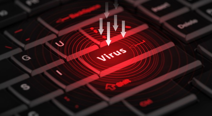 """Arrows point to a computer key labeled """"virus."""""""