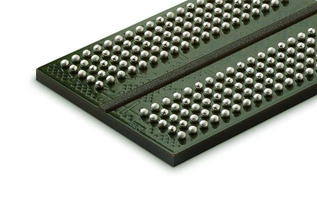 Micron's GDDR5X DRAM chip against a white background.