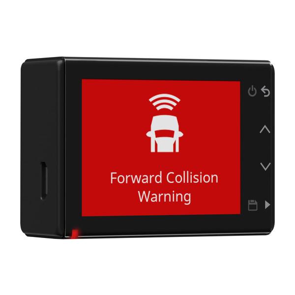 A Garmin dash cam flashing a collision warning.
