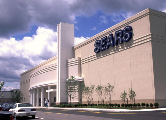 The front view of a Sears store