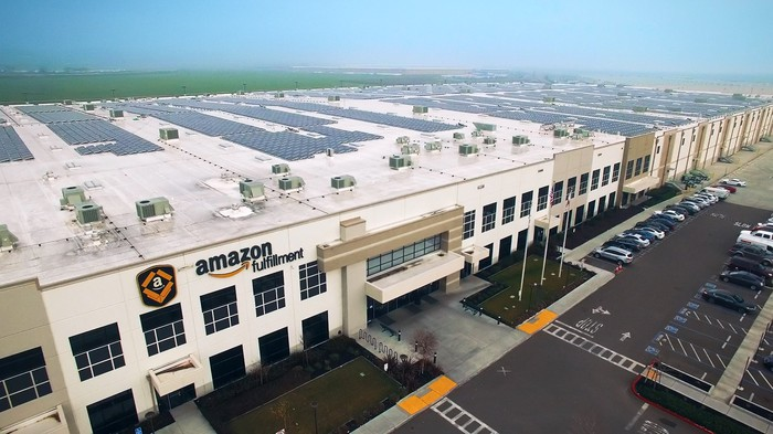 Amazon fulfillment center viewed from the air.