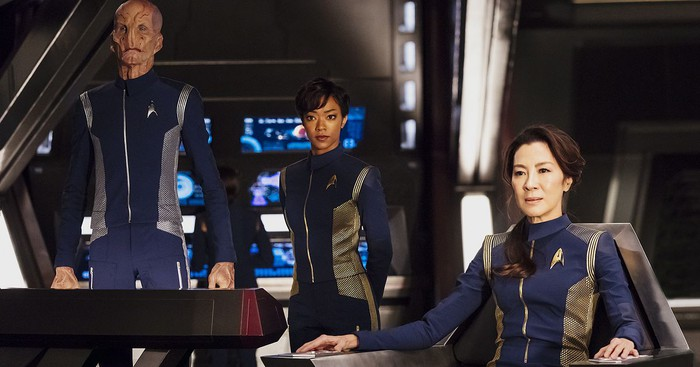"The cast of ""Star Trek: Discovery"" on the show set."