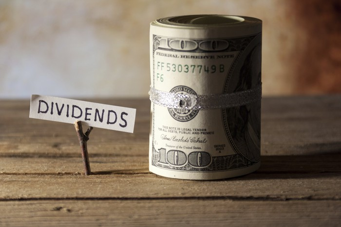 """Roll of one hundred dollar bills next to a sign that reads """"dividends."""""""