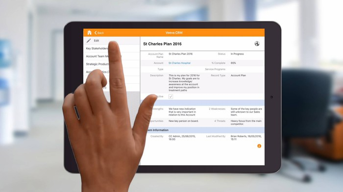 A view of Veeva CRM from a customer's tablet.
