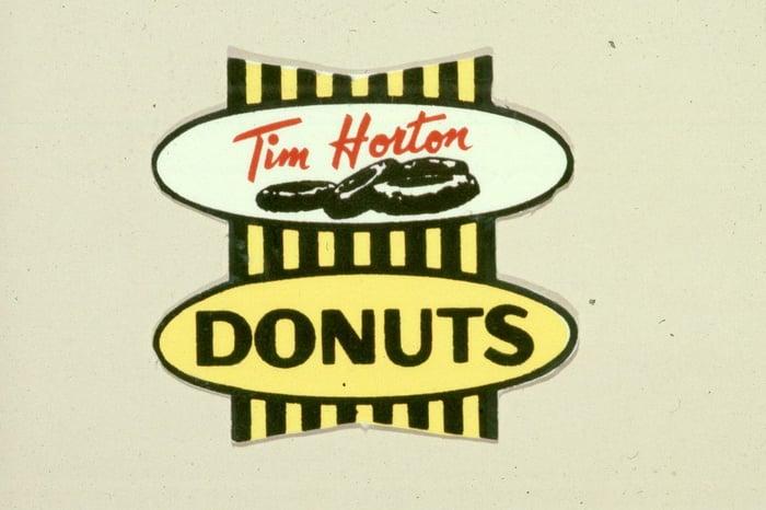 """Original Tim Horton's logo with """"donuts"""" written below """"Tim Horton""""."""